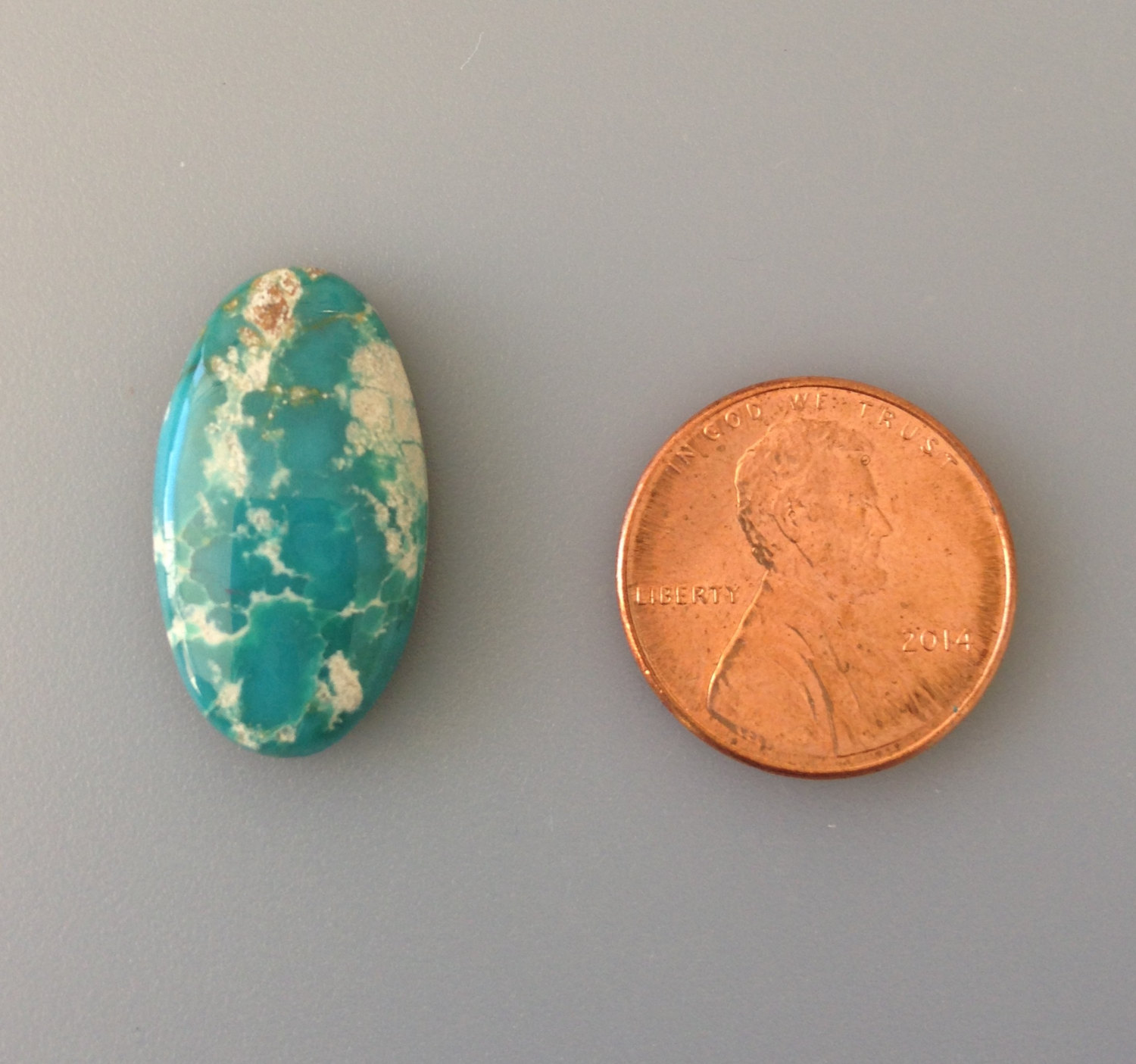 Blue Green Fox Turquoise  Freeform Oval Cabochon  Backed